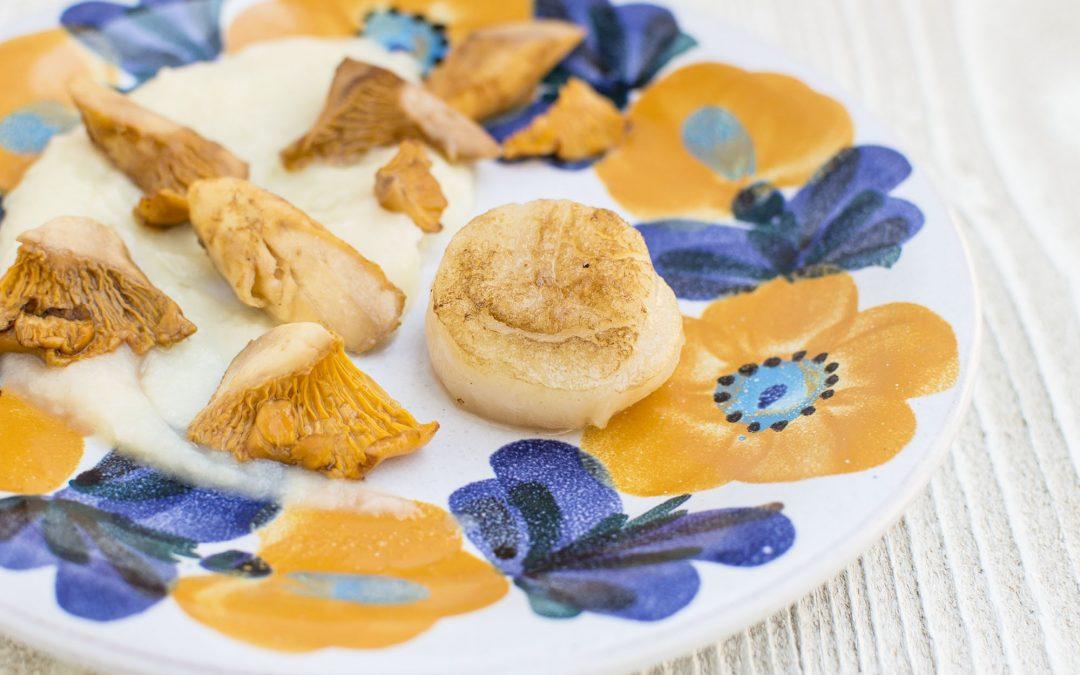 Rókagomba kagylóval és zellerpürével