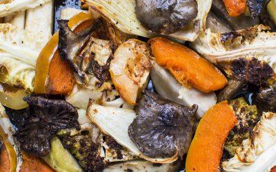 Erdei gombák őszi zöldségekkel